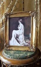 VINTAGE Art Deco Nude Lady Boudoir francese ORO CORNICI VETRO foto stampa