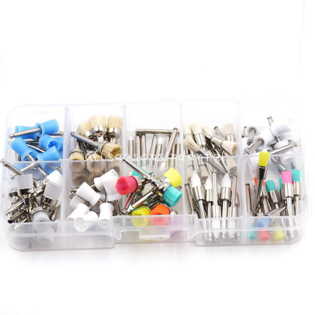 100 Pcs Dental Disposable Prophy Brush Cup Polishing Polisher 10 Mixed Types
