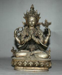 8-4-034-Bouddhisme-Tibetain-Argent-4-Bras-Sculpture-Statue-De-Bouddha-Chenrezig