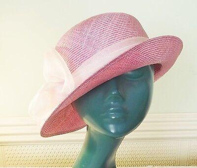 * Squisita Vintage Lilacy Rosa Sissal Tweed Cappello Di Paglia Accendino Band & Rossette-mostra Il Titolo Originale Aspetto Bello