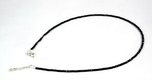 Black-Tourmaline-Gemstone-2-mm-Rondelle-Micro-Faceted-Beads-18-034-Long-Necklace