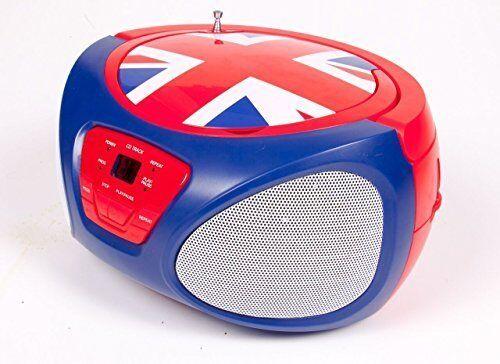 Portable CD Player Boombox AM//FM Radio Music System Stereo Speaker UK Flag NEW