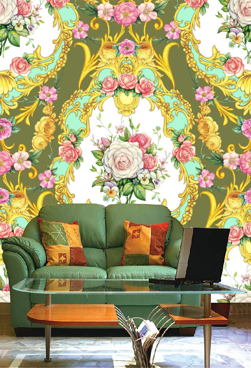 3D Pattern flower Gold Wall Paper wall Print Decal Wall Deco Indoor wall Mural