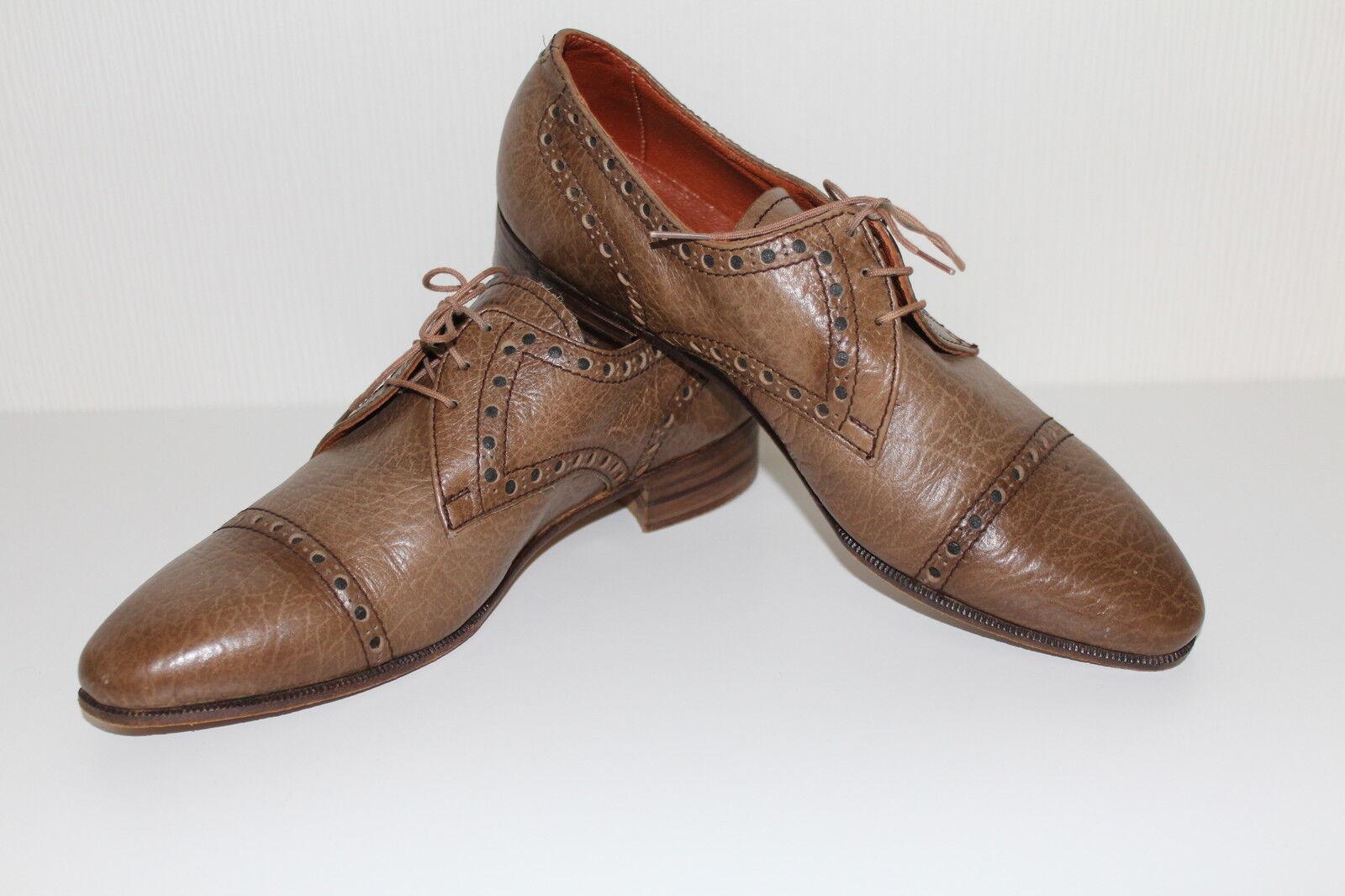 Vintage echt Leder Damen Budapester Schuhe 41 Leder Lace Up FLATS BROGUES 60er