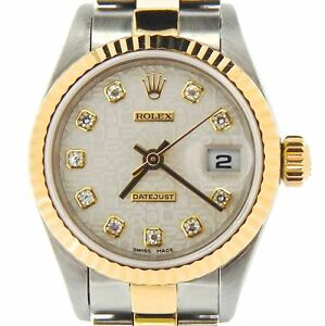 262dcae5773 Rolex Datejust Ladies 18k Yellow Gold   Steel Watch FACTORY Diamond ...