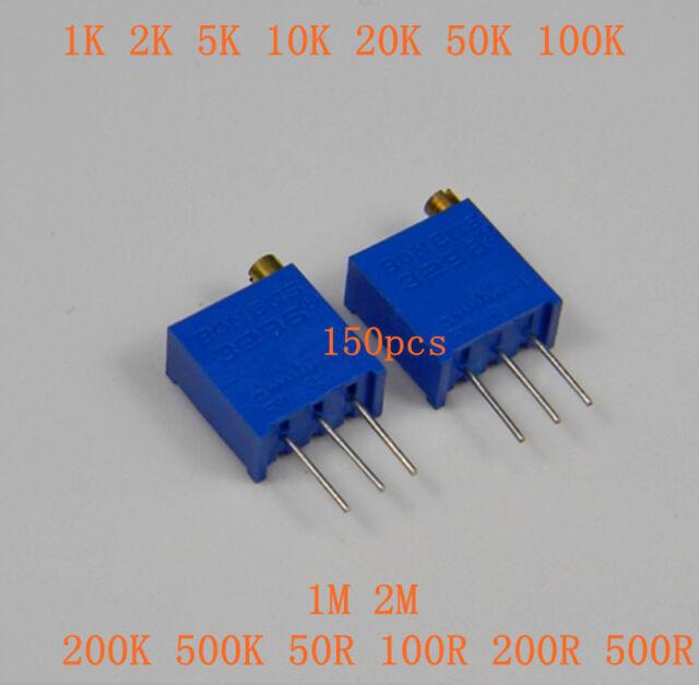 150pcs 3296W Trim Pot Trimmer Potentiometer Including 15 values Each 10pcs