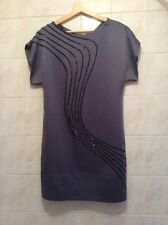 COAST Grey Beaded Satin Tunic Dress BNWT Size 10 (RRP £150)
