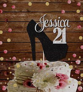 Fantastic Number 21 Custom Name Stiletto Glitter Cake Topper 18Th 21St Funny Birthday Cards Online Kookostrdamsfinfo