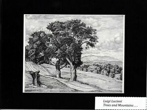 Art Masterpiece -Bookplate/Lithograph/ Trees and Mountains  by  LUIGI LUCIONI