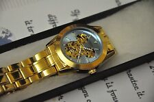 Disney Mickey Mouse Automatic Wrist Watch Women Men Gift Box 24K Gold Plated