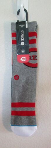 NWT Stance Cincinnati Reds Riverfront Mens MLB Diamond Socks Grey MSRP$18