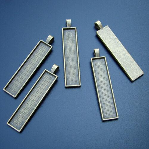 p00879x2 FASSUNGEN 5 Stück BronzeFARBE für 10x50mm RECHTECKIGE Cabochons