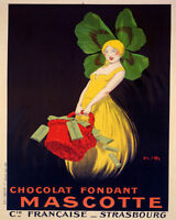 Poster Chocolate Mascotte Girl Four Leaves Clover Hat Vintage Repro Free S/h