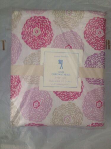 4pc Pottery Barn Kids Cotton Pink Purple Mum Flower Full Sheet Set NWT More Avai