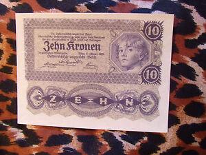Great-Historic-Banknotes-AUSTRIA-1922-10-Kronen-P-75-UNC