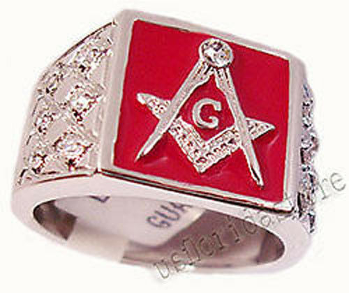 Mens Red Masonic Mason CZ 7St Rhodium Plated Ring New