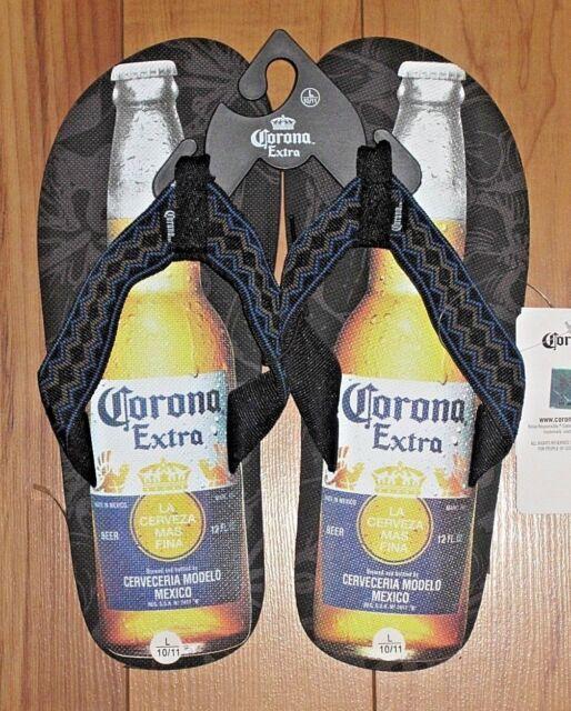 64317354e9cb Corona Extra Bottle Mens Flip Flop Sandals Black Large 10 - 11 for ...