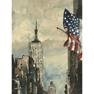 New-York-Empire-State-Building-Flag-Watercolour-Large-Wall-Art-Print-18X24-In