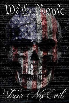 We The People Fear No Evil American Flag Skull 24 x 36
