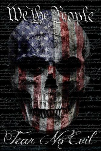 SKULL /& FLAG WE THE PEOPLE BENITO ART POSTER 24x36-2850 FEAR NO EVIL