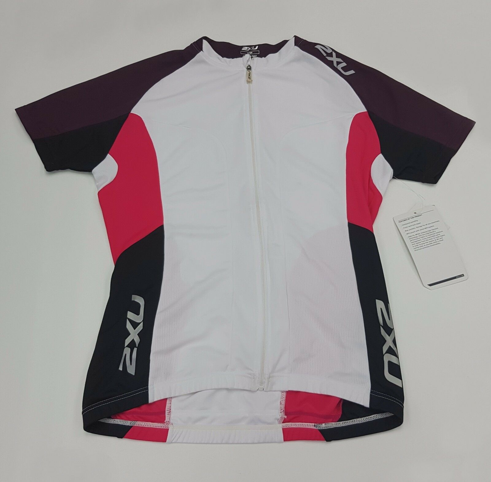 2XU Road Comp Women's Cycling Jersey WC2020a White Blister Pink Size L