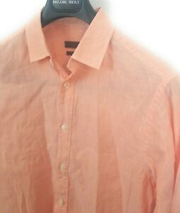 Z-ZEGNA-Size-Medium-Tapered-Shirt-Salmon-Pink-White-Linen-37-Cotton-63-Blend