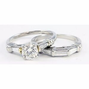 Platinum Scott Kay Round Baguette Diamond Engagement Ring Wedding ...