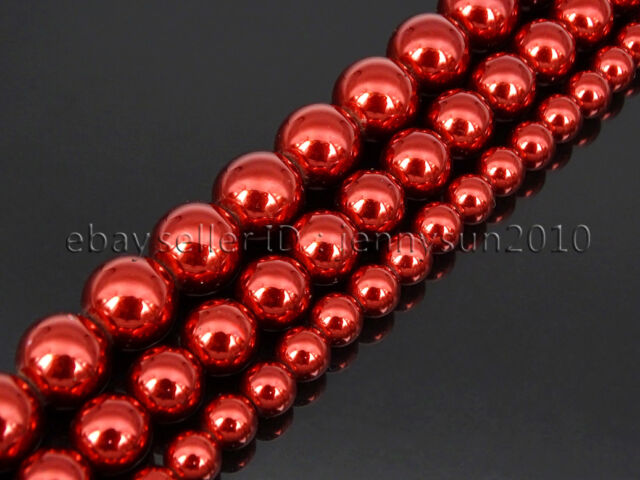 Non Magnetic Metallic Red Hematite Gemstone Round Beads Strand 6mm 8mm 10mm