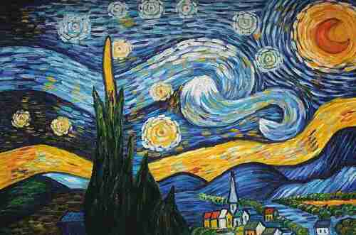 Van Gogh Starry Night-Wedge Frame Picture On Canvas