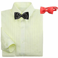 Classic Baby Boy Formal Tuxedo Suit Ivory Dress Shirt Red Black Bow Tie 0-7