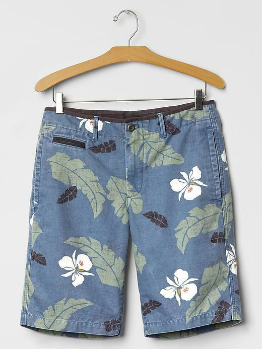 Gap Men's Palm Print Beach Shorts (10 ) bluee Palm, Size 30, NWHT