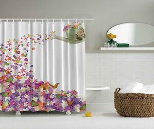 white purple floral butterfly fabric shower curtain design 70 bathroom w hooks. Black Bedroom Furniture Sets. Home Design Ideas