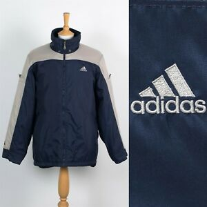 Détails sur Hommes Vintage ANNÉES 90 Adidas Veste Rembourrée Bleu Beige Wavey Rétro Hiver M
