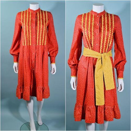 Vintage 60s Prairie Dress Red Calico Print Gunne S