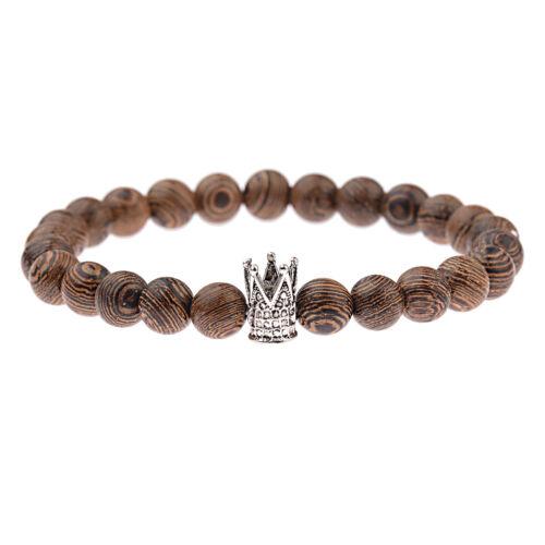2019 Couples King Queen Wooden Stone Crown Beaded Bracelets For Men Women