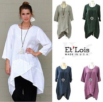 ET/'LOIS USA Light Linen  KAI TUNIC  V-Placket 2-Pocket Dress  XS S M L XL COLORS
