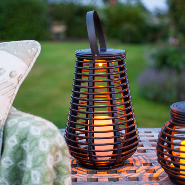 Solar Powered Tall Rattan Outdoor LED Candle Lantern For Garden & Patio, 25cm