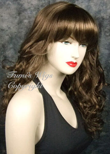 Great Fibre Great Quality Long Curly Wig In Brown With Dark Blonde Highlights
