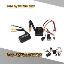 3650 3900KV 4P Sensorless Brushless Motor & 60A ESC w/BEC for RC Car NEW A3W9
