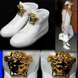 Detalles de Versace Oro Medusa Cuero Zapatillas Con Bolsa De Polvo (40) ver título original
