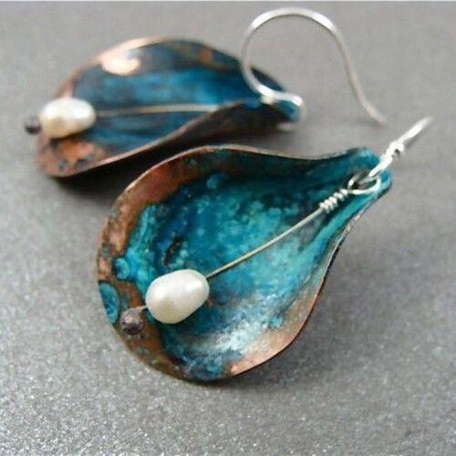 Vintage Women White Pearl Gemstone Wedding Engagement Drop Dangle Stud Earrings