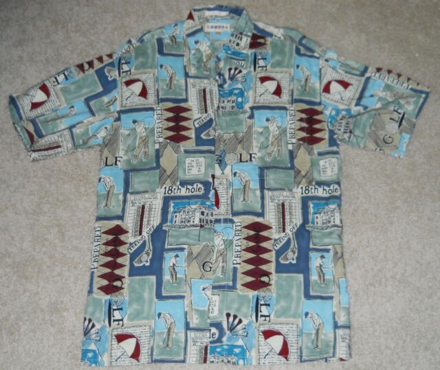 Golf Shirt Men Tee Tiki Score Card Par Aloha Rayon Words Moda Campia Medium