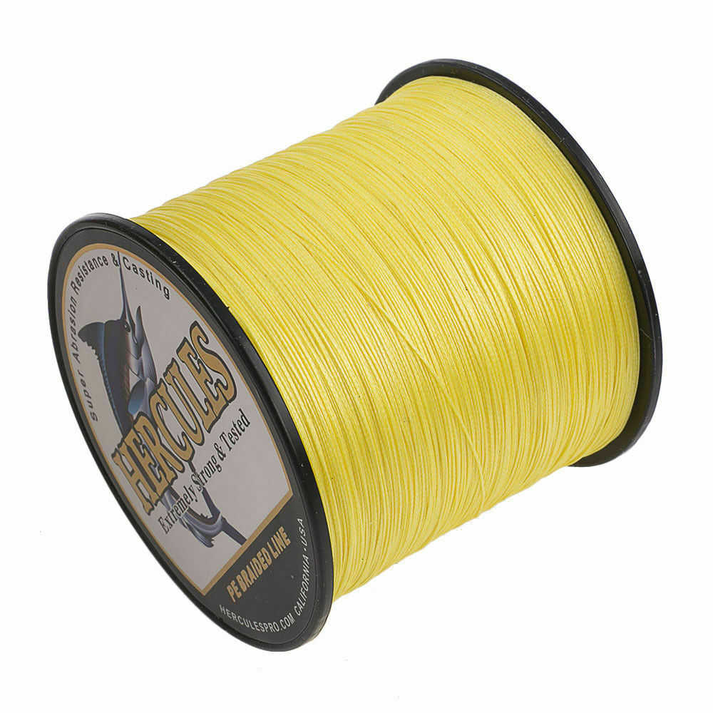 8 Strands Hercules Braided PE Fishing Line Gelb 100M 300M 500M 1000M Saltwater