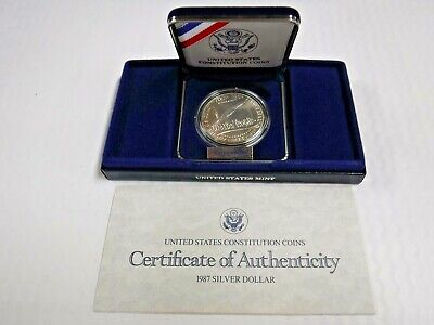 Supplies 1987-P US Constitution 90/% Silver Dollar Uncirculated COA ONLY NO COINS