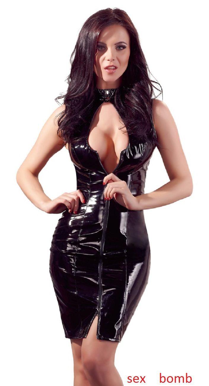 Sexy Abito Vestito Laccato black Vinile Zip Aperture S M L XL Fashion GLAMOUR