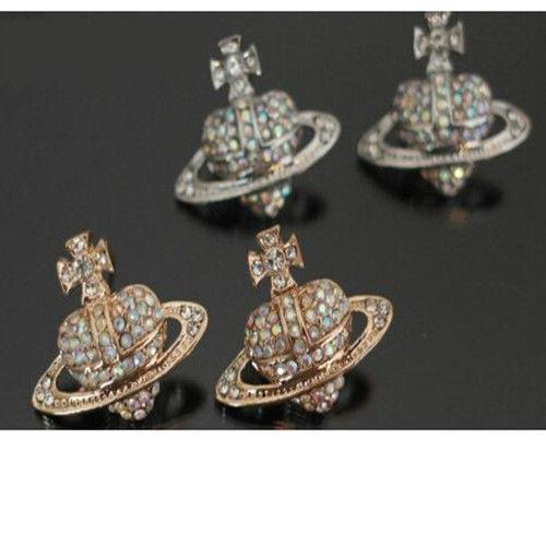 Crystal Orb Ear Pin Stud Earrings Saturn Heart Cross Diamante Crystal Rhinestone