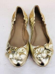 86e64726ee7fb NIB TORY BURCH Blossom Floral Spark Gold Leather Logo Ballet Flat ...