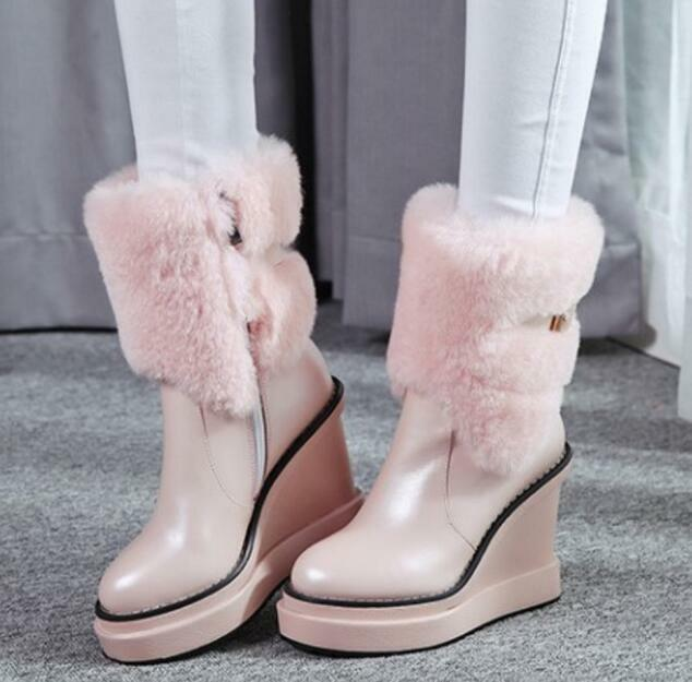 Women Platform Wedge Winter Snow Anke Boot Leather Fur Warm Casual High Heel