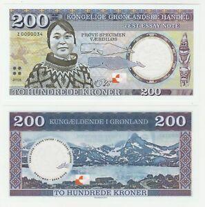Groenland/danemark 200 Kroner 2018 Unc Specimen Test Note Polymer Banknote-afficher Le Titre D'origine Zaonuhcw-08001138-769568116