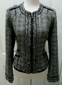 WHITE-HOUSE-BLACK-MARKET-BLACK-amp-WHITE-SPARKLE-EPAULET-SIDE-PANEL-JACKET-SIZE-10